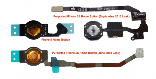 iPhone5SとiPhone5のホームボタン比較